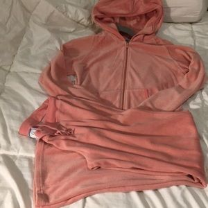 Coral color Velour Zip up hooded 2 pc set